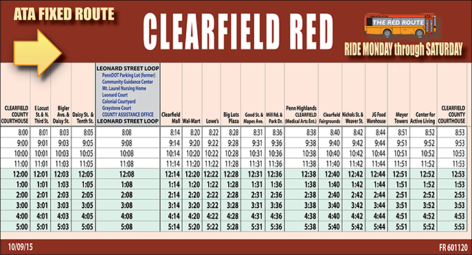 ATA Clearfield Red Route Schedule Table